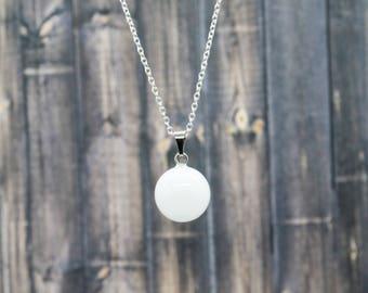 Semi Precious Arctic White Quartz Sphere Minimalist Necklace - Sterling Silver Chain - Round Stone Pendant