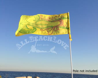 Mermaid Flag, Room Flag, Beach Flag, Wind Directional, Mermaid Decoration, Camping Flag, RV Flag, Camp Mark, Beach Mark, Yellow, Decoration