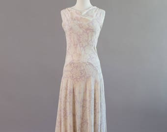 Vintage 1920s 1930s cream and purple violet crepe gown with low cowl back New Year's Eve