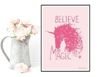 Unicorn poster, Unicorn print, Disney quote, Girl room wall decor, Disney princess, Kids decor, Room art girl, Nursery print, Girl gift idea