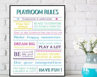 Playroom rules poster, Playroom sign, Playroom wall decor, Kids room decor, Playroom rules printable, Playroom rules wall art, Children gift