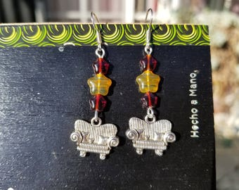 Couch Tour, Yellow glass, Star, Red, Glass, Red Star, Silver Tone, Ear Wire