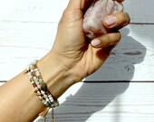 Anti anxiety Mindfulness gift, amazonite yoga bracelet, chakra bracelet, healing crystals, beaded bracelet, boho bracelet, 30th birthday