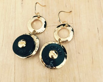 2 Designer Buttons, repurposed to create a NEW pair of drop and dangle earrings, Chanel Inspired  C710-7