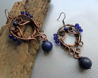 Lapis Lazuli earrings, Wire wrap, Copper earrings, Artisan dangle earrings, Copper wire earrings, Wire wrapped jewelry, Boho Rustic earrings