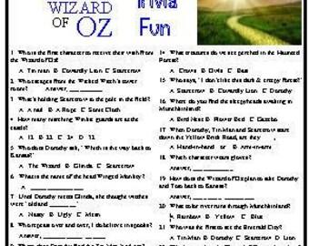 Wizard of Oz Trivia Game