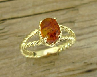 Genuine Amber Ring, Golden Amber Ring, Natural Baltic Amber Stone, Statement Ring, Gold Gemstone Ring, Natural Amber Ring, Unique Gold Ring
