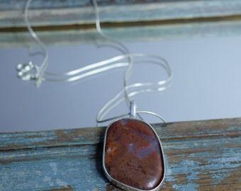 Red pendant, red jasper pendant, rustic jewellery, semi precious pendant, hand made jewellery, hand made pendant, boho jewellery