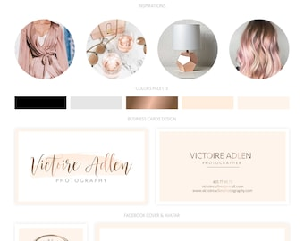 Branding Kit, Branding Package, Premade Logo, Watercolor Logo, Rose Gold Logo, Logo Design, Calligpaphy Logo, Photography Logo, Wedding Logo