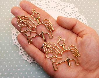 2pc Gold Toned Carousel Pony 50mm Open Bezel Kawaii Metal Pendant Charm Jewelry Craft DIY