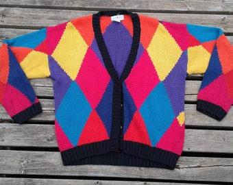 Gorgeous Colour Block Knit Button Up Cardigan Women's Medium Sweater