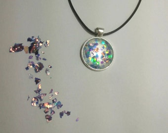 Beautiful silver coated Cabochon Glass Necklace