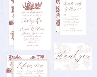 Vintage French Toile Wedding Invitation Suite, Earthy Red, Vintage Design, Elegant and Romantic, Printable Wedding Invitation Collection