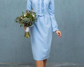 Light blue elegant dress, spring dress 2018, crepe dress CAVATINA by Nadi Renardi