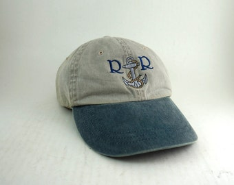 R & R Anchor Two-Toned Dad Hat // Low Profile Tan and Blue Baseball Cap with Adjustable Leather Strapback