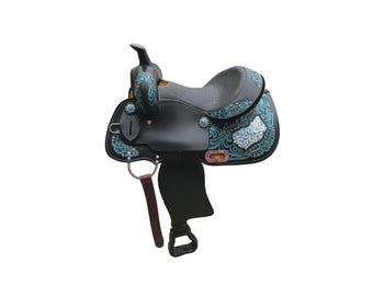Teal Metallic Black Panther Handmade Fully Tooled Western Barrel Horse Pleasure Trail leather Saddle With Snake And Gator