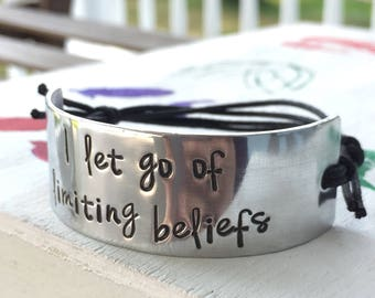 Inspirational Bracelet for Women - I Let Go of Limiting Beliefs - Silver Quote Bracelet - Motivational Quote