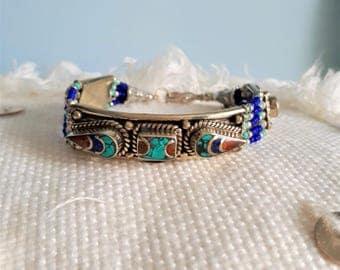 Ethnic bracelet - Turquoise / coral and lapis lazuli - handmade