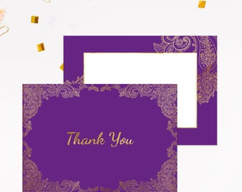 Wedding thank you cards, Henna wedding invitation set, Thank you from Mr & Mrs, Indian Wedding thank you notes, Purple wedding thank you
