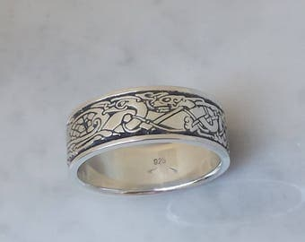 Celtic Birds and Dogs sterling SILVER , Celtic ring, Celtic band