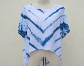 Indigo tie and dye handmade crop top