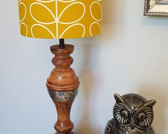Retro lampshade etsy uk retro print mustard drum lampshade handmade lamp shades in 3 sizes aloadofball Gallery
