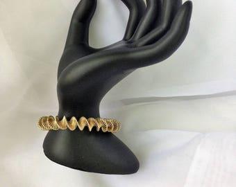 Spiral Gold Toned Twisted Bohemian Bracelet