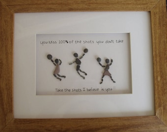 11 x 14 Basketball poses, Original Pebble Art with Hand Made frame in your choice of stain color by Jodi Bolger