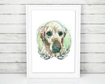 Custom pet portrait, pet portrait, custom pet print, watercolor dog portrait, dog print, pet print, dog poster, pet memorial portrait