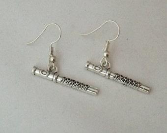 Flute earrings, musical instrument earrings, flute teacher or student gift, unisex gift, woodwind instrument earrings