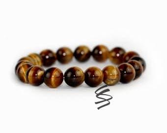 10mm Tigers Eye Bracelet, Tigers Eye Jewelry, Natural Tigers Eye, Tiger Eye Beads, Tiger Eye Bracelet, Gemstone Bracelet, Healing Stone