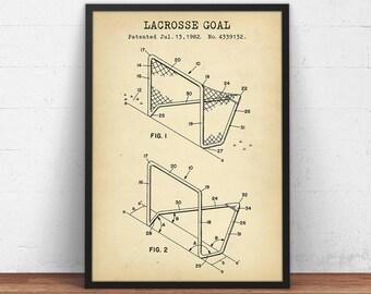 Lacrosse Goal Post Patent Art Print, Digital Download, Lacrosse Sports, Lacrosse Decor, Lacrosse Coach Gift Idea, Lacrosse Poster Printable