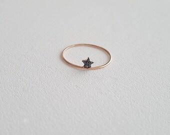 Rising_Star_Ring, Black Diamond, 14K Solid Gold Ring, 14K Yellow Gold Ring