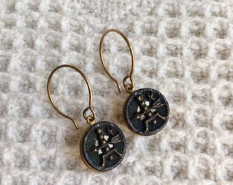 Unique Vintage Style Earrings with Antique Metal Buttons from the 1800s-Victorian Style-Button Jewelry-Repurposed-Upcycled-Vintage Jewelry