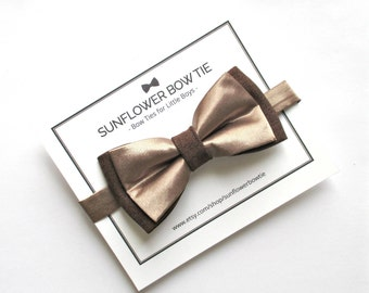 Boys Bow Tie - Gold Bow Tie - Bow Ties for Boys - Boys Formal Wear - Wedding Bow Tie - Kids Bow Tie - Brown Bow Tie - Boys Bowtie