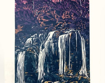Akron Falls - woodcut printd by Hai Fei Xie