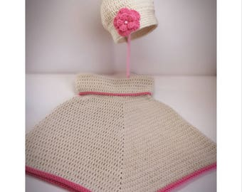Girls Crochet Poncho Sweater with Hat.