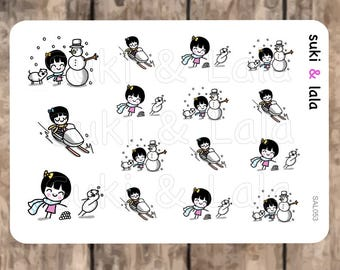 Play in the Snow Planner Stickers, Snow Planner Stickers, Snowman Planner stickers, Snowmobiling Planner Stickers (SAL053)