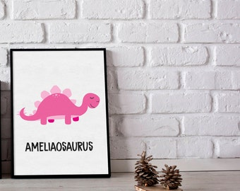 Stegosaurus print - prersonalised prints - kids room print - dino print - kids wall art - kids room - dino poster - gifts for kids