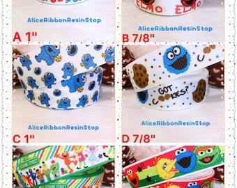 "3 yards 7/8"" Sesame Street ribbon, Elmo ribbon, Cookie Monster ribbon, Elmo grosgrain ribbon, Cartoon ribbon, hair bow ribbon, hair bow DIY"