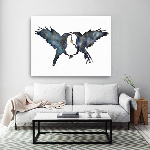 Magic Ravens | Framed canvas | Shamanic crow | Elixir Potion | Watercolor galaxy | Spirit animal totem | Native American | ZuskaArt