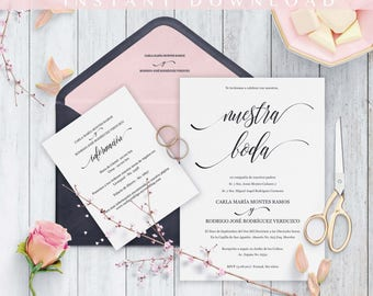 Invitaciones de Boda, Spanish wedding invitation, Instant Download, Classico Moderno, Nuestra Boda, Imprime en casa, PDF, Edit at home