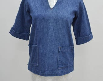 BUSTER BROWN Vintage 80's Buster Brown Made In USA Denim Blouse Size 12