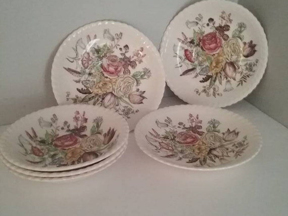 Vintage Johnson Bros Windsor Ware, Garden Bouquet Pattern Berry Bowls, Set of three Bowls and three saucers, Vintage China Christmas Gift