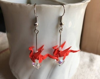 Origami Dragon Earrings - Red and White