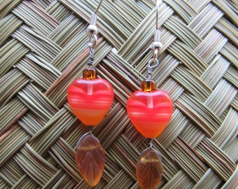 Hand beaded heart and leaf earrings