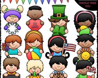 Calendar Topper Kids Clip Art and B&W Set
