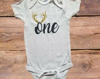 One Onesie, One Antler Onesie, First Birthday, Children Apparel, Hunting Onesie
