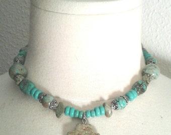 Handmade Turquoise Necklace Set, Turquoise Necklace, Bracelet and Earrings, Turquoise Necklace, Turquoise Bracelet, Turquoise Earrings