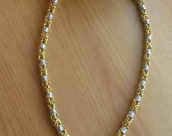 Byzantine Chain Maille Necklace in Gold and Silver  - CMN2